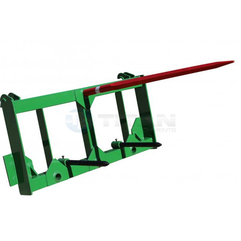 "Hay Spear Attachment w/ 49"" Main Spear and Stabilizers fits John Deere loaders"