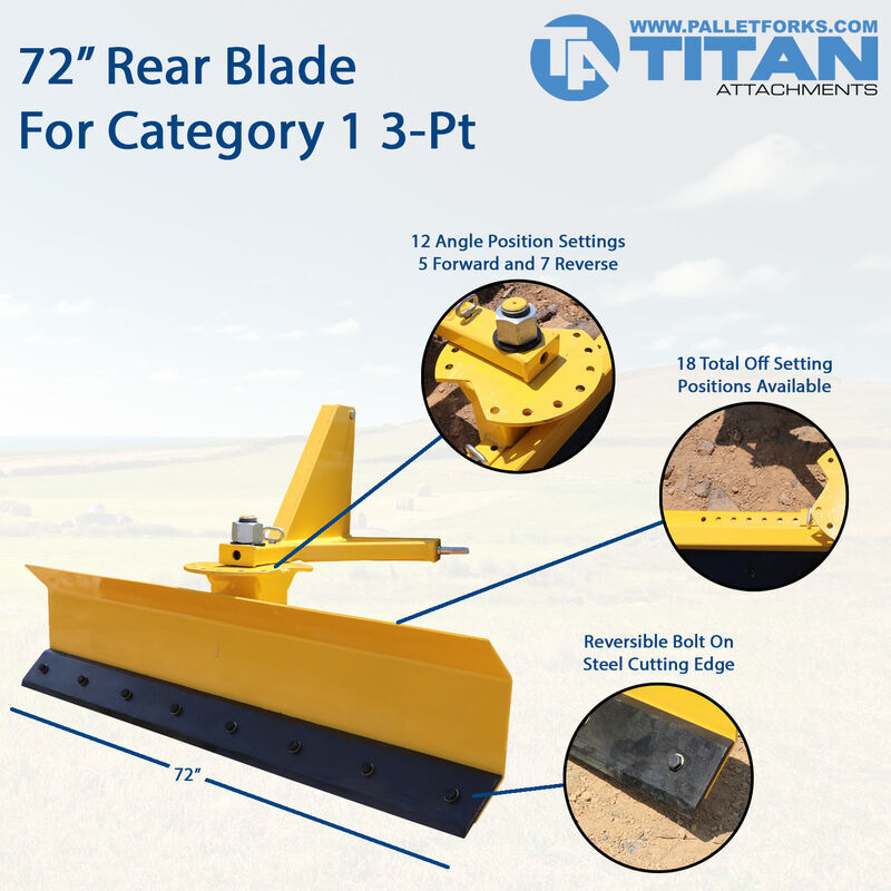 "72"" Rear Blade For Grading And Scraping Cat 1 3pt Quick Hitch Compatible"
