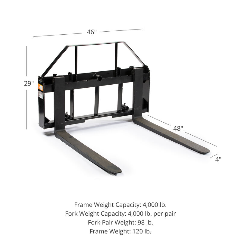 Pallet Fork Frame Attachment with 48-in Fork Blades