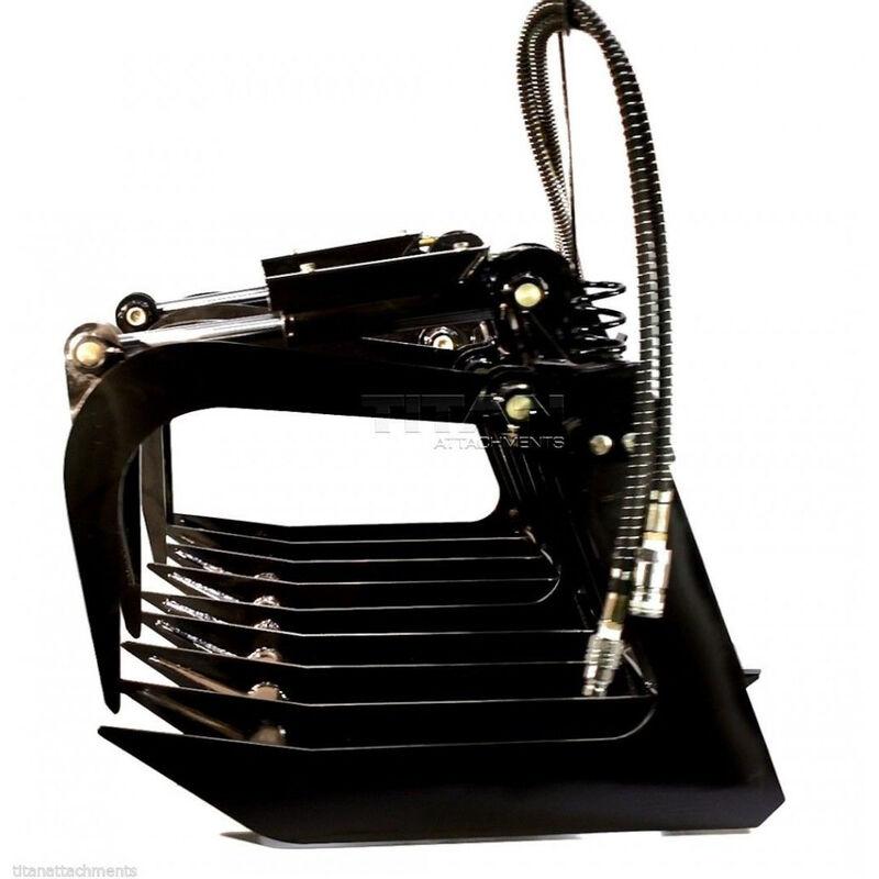 "Titan 60"" Universal Skid Steer Grapple Bucket w/ 49"" Hay Spear Combo"