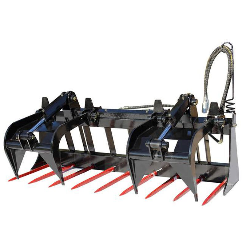 "72"" Tine Grapple Bucket Sillage Rake Manure w/ Hay Spears for Skid Steer"
