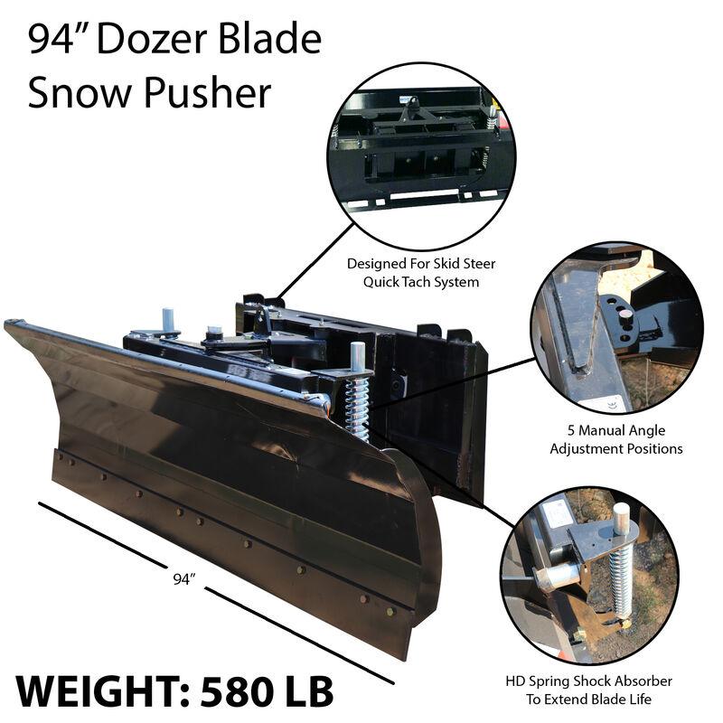 "94"" Skid Steer Dozer Blade Snow Pusher | Manual Rotation"