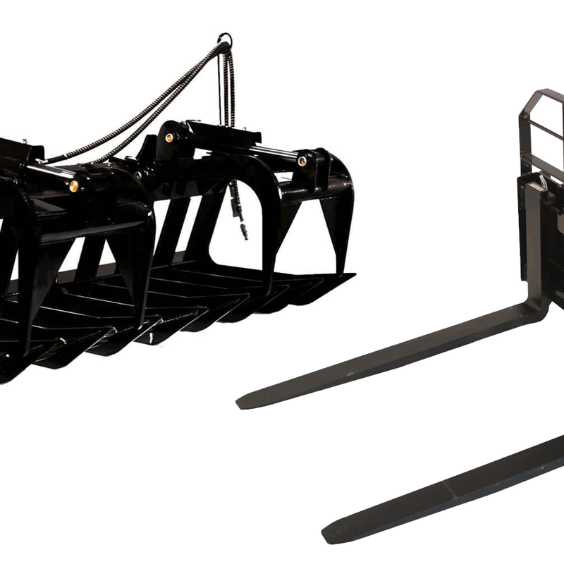 """72"""" Root Grapple Bucket & 48"""" HD Pallet Forks"""