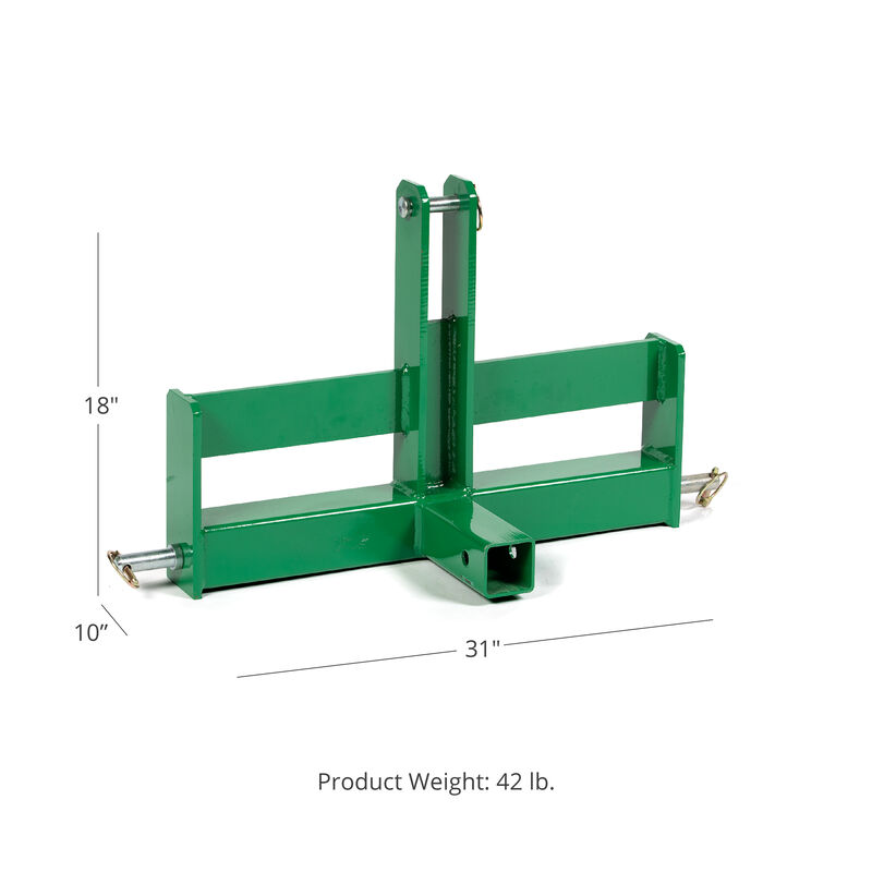 Green Tractor Drawbar With Suitcase Weight Brackets, 2-in Receiver, Cat 1, 3 Point
