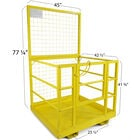 """2 Person LW Forklift Platform Safety Cage Yellow 45"""" x 43"""""""