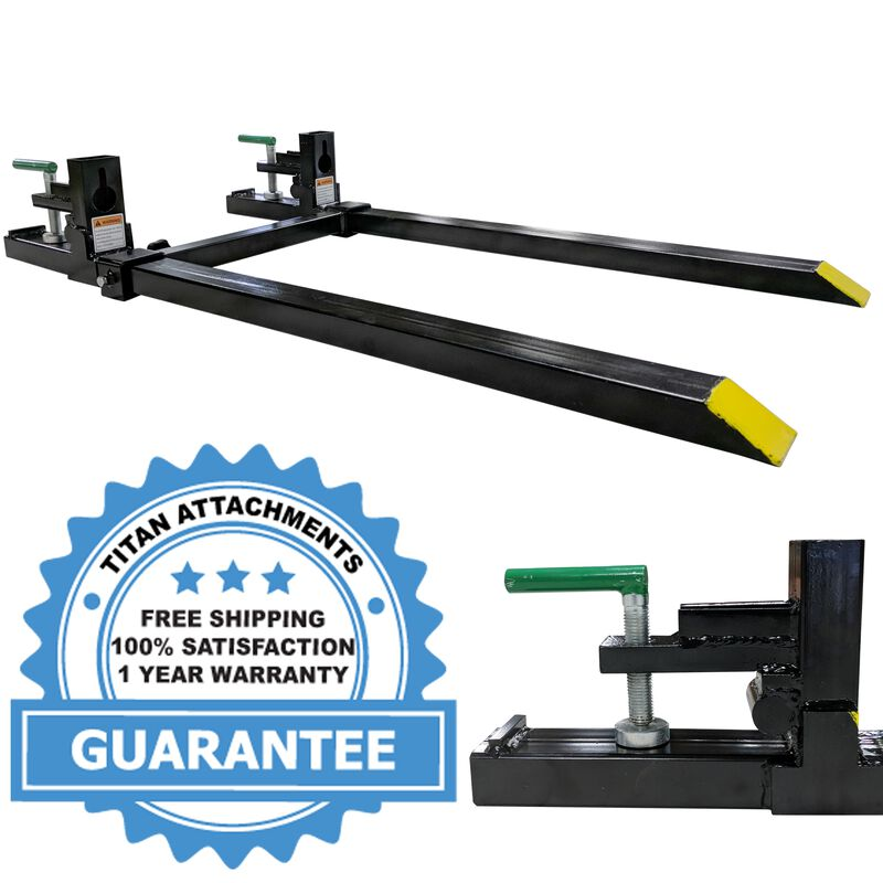 "43"" LW Clamp on Pallet Forks 1,500 lb Capacity w/ Stabilizer Bar"