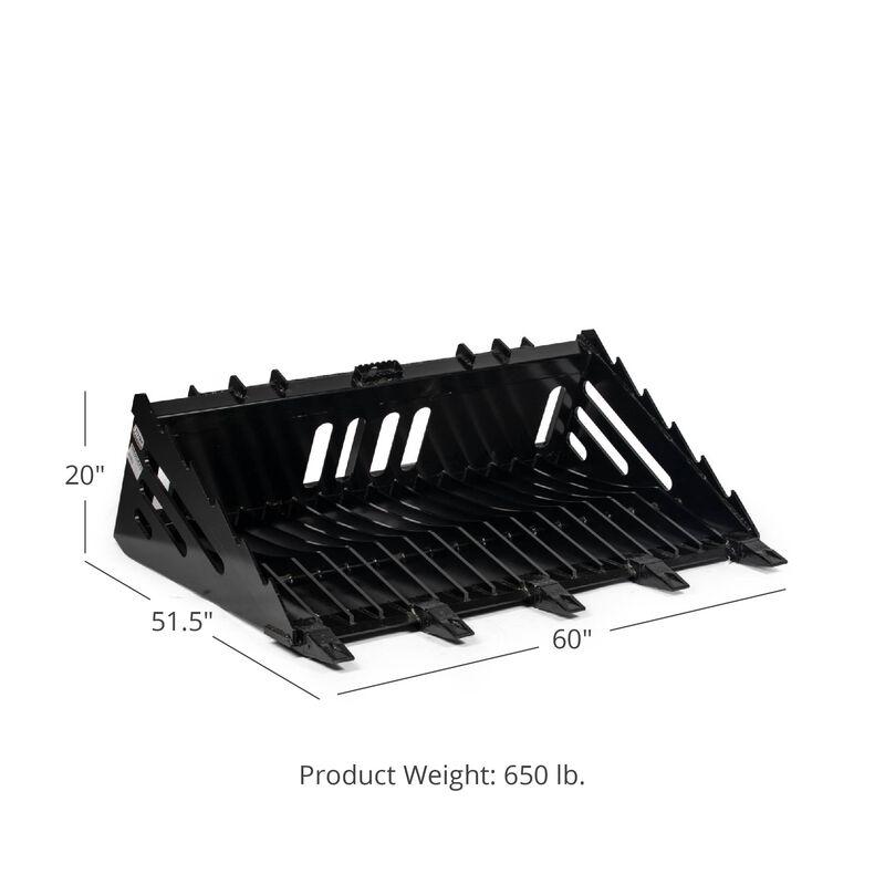 60-in Fine Grade Skeleton Rock Bucket w/ Teeth For Skid Steers