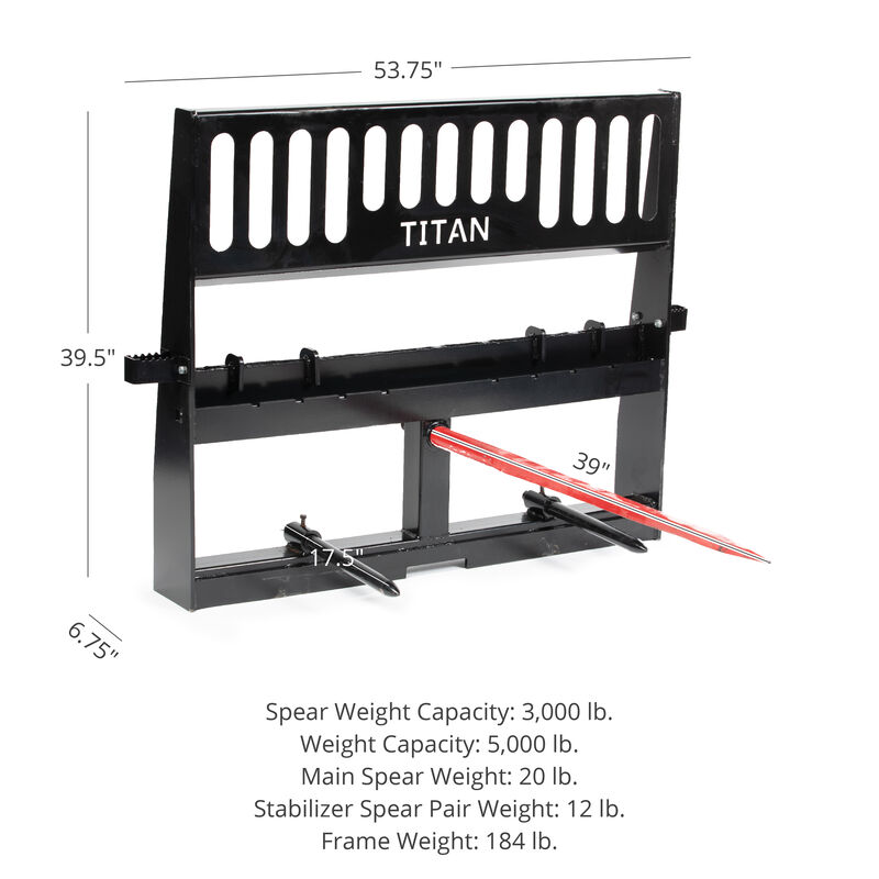 Pro-Duty Pallet Fork Attachment, 39-in Hay Spear and Stabilizers