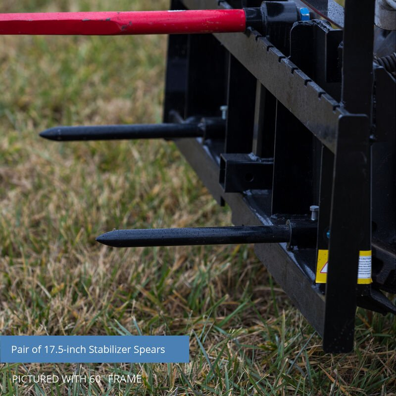 Titan 72-in XL Hay Frame Attachment with Receiver Hitch, 49-in Hay Spears, and Stabilizers