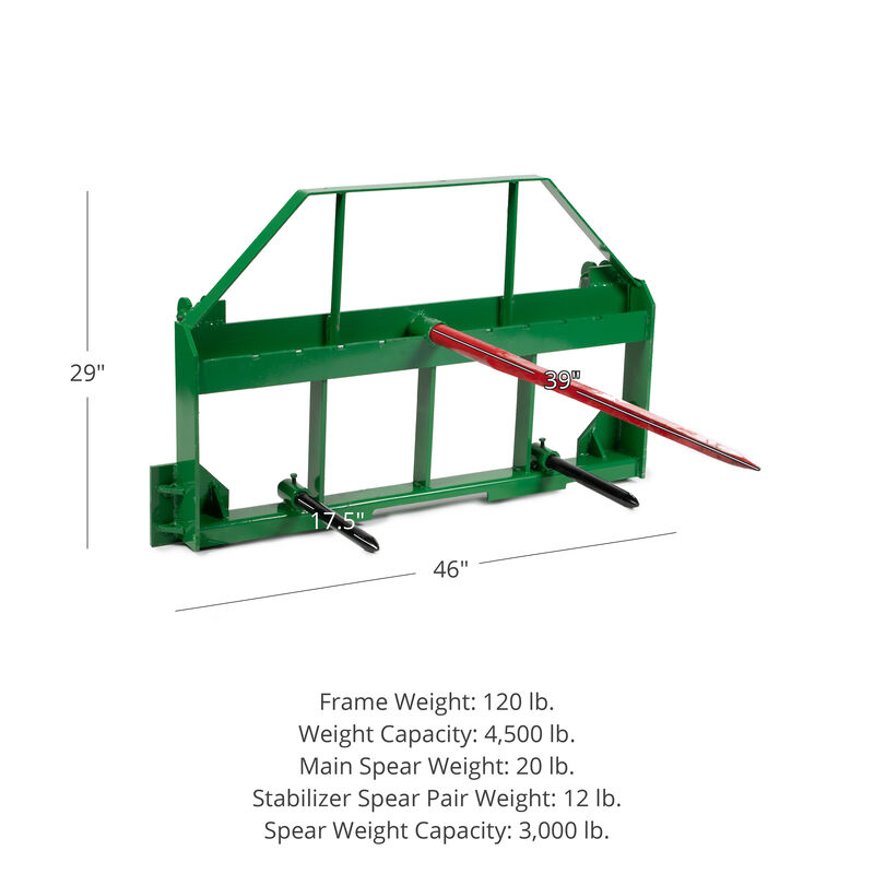 Pallet Fork Frame Attachment, 39-in Hay Spears and Stabilizers
