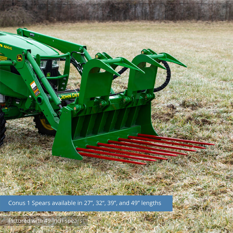 60-in Tine Bucket Attachment with 32-in Hay Bale Spears Fits John Deere Loaders
