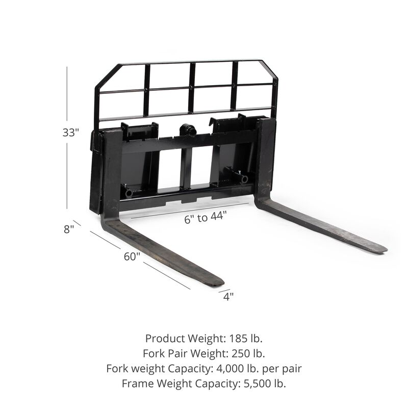 """HD Pallet Fork Attachment with 60"""" Fork Blades"""