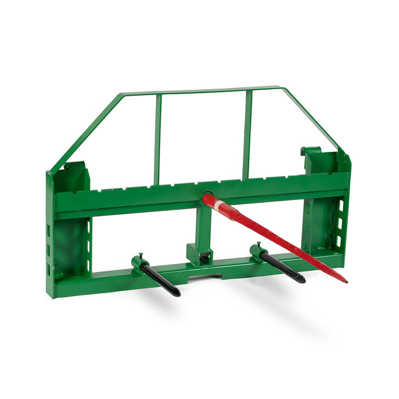 Titan 50-in Pallet Fork Frame Attachment with Receiver Hitch, 49-in Hay Spears, and Stabilizers – Fits John Deere Loader