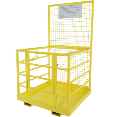 "2 Person Forklift Platform Safety Cage Yellow 45"" x 43"""