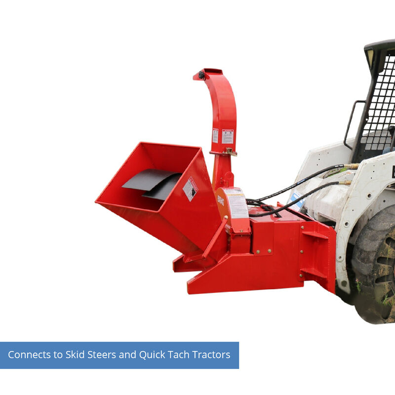 Hydraulic Wood Chipper for Skid Steers and Tractors with Universal Quick Tach V2