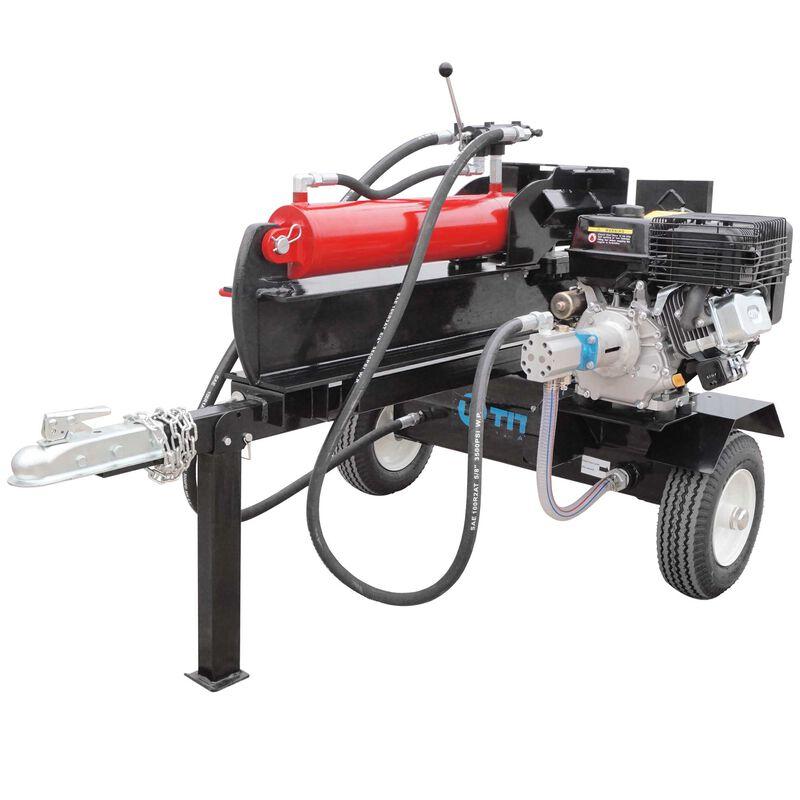 Towable Firewood Splitter, Gas-Powered Hydraulic Woodcutter, 37 Ton, Pull Start
