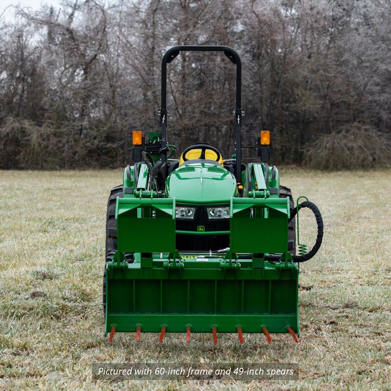 72-in Tine Bucket Attachment with 39-in Hay Bale Spears Fits John Deere Loaders