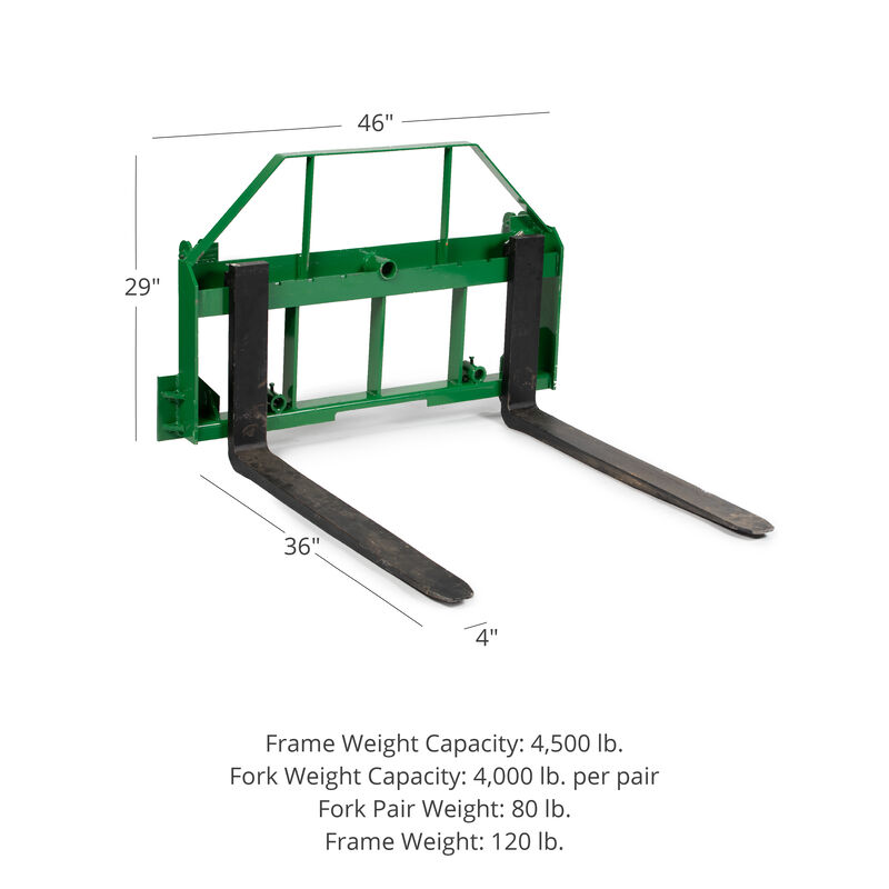 Pallet Fork Frame Attachment with 36-in Fork Blades