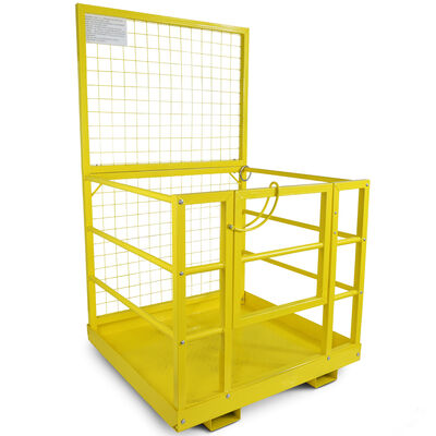 "2 Person LW Forklift Platform Safety Cage Yellow 45"" x 43"""