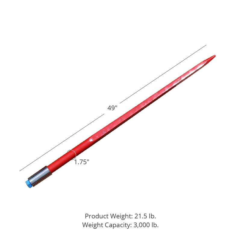 """49"""" Square Bale Spear 3,000 lbs capacity, 1 3/4"""" wide with nut and sleeve Conus 2 (10 Spears)"""