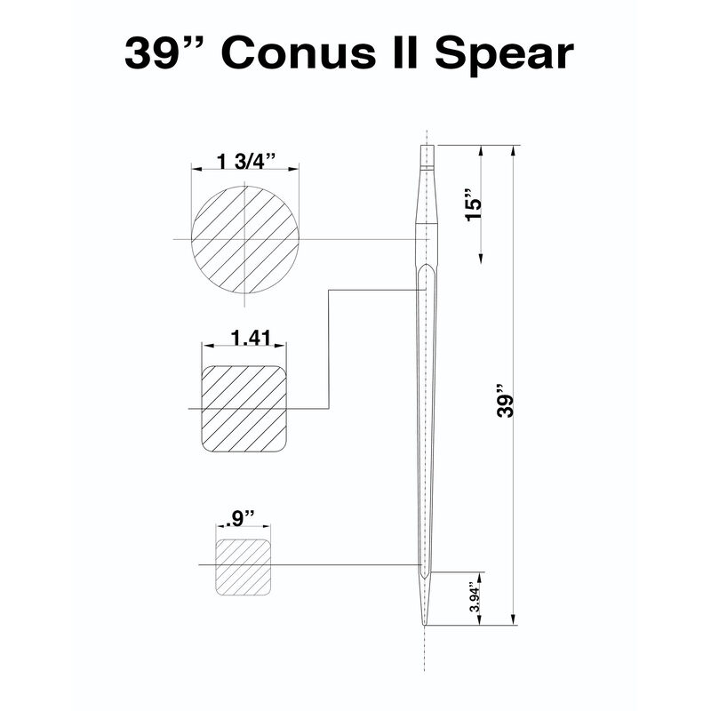 "39"" Square Bale Spear 3,000 lbs capacity, 1 3/4"" wide with nut and sleeve Conus 2 (10 spears)"