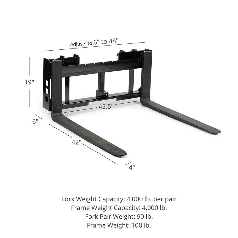 45-in Pallet Fork Frame Attachment with 42-in Fork Blades