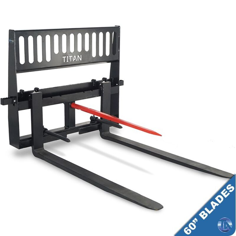 "HD Pallet Fork Hay Bale Spear Skid Steer Quick Tach Tractor 60"" Blades"