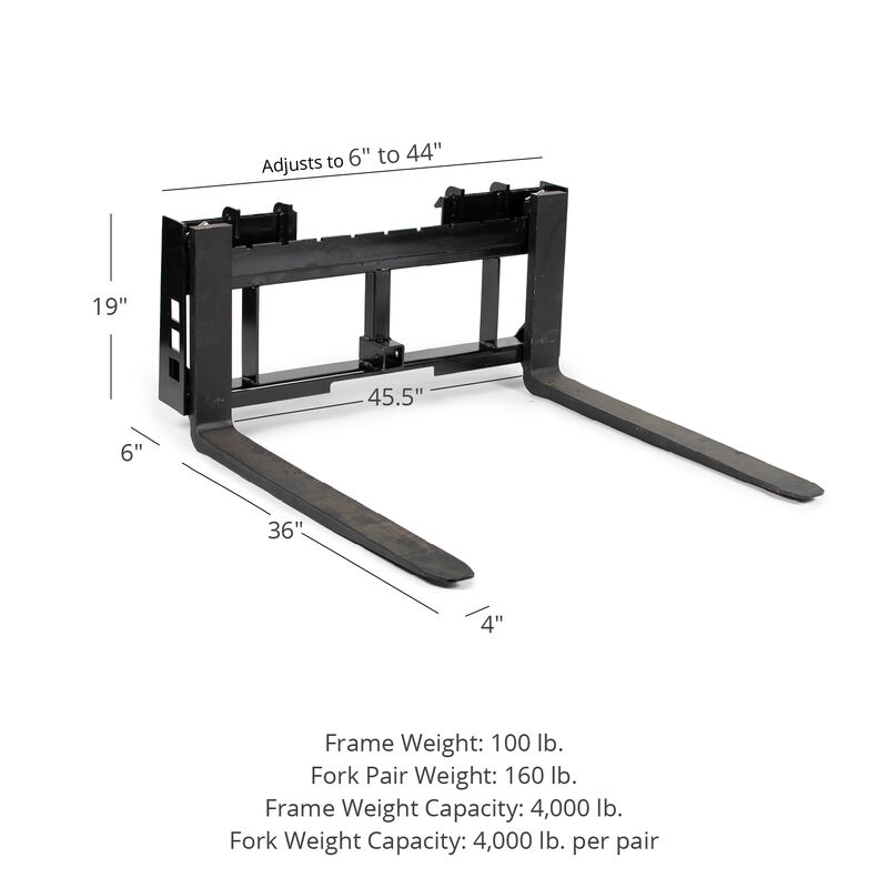 45-in Pallet Fork Frame Attachment with 36-in Fork Blades
