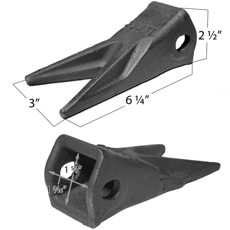 23WTL Twin Tiger Tooth Bucket Assembly Fits John Deere w/ 23TFP Flex Pin