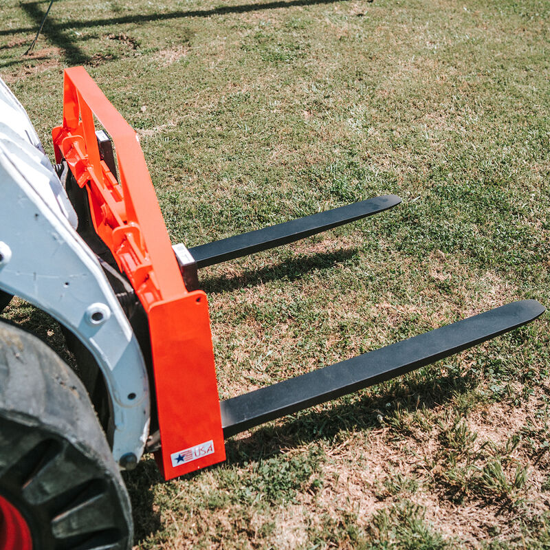 UA Made in the USA Pallet Fork Orange Hay Frame Attachment with Headache Rack and Receiver Hitch