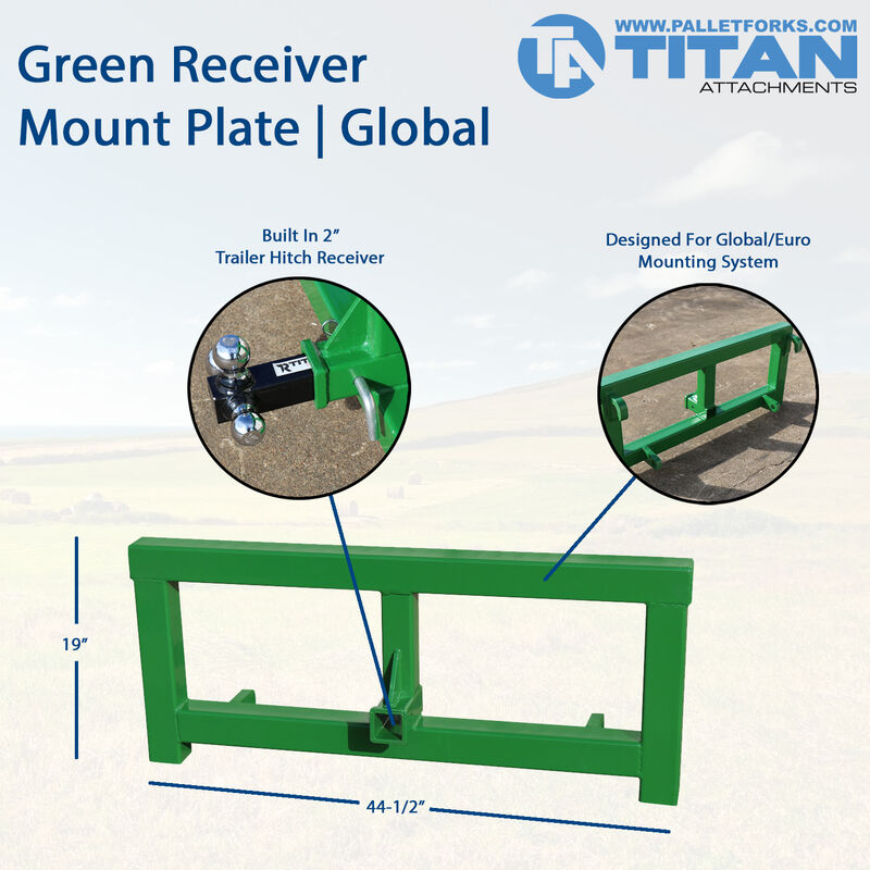Receiver Mount Plate Attachment | Fits Global Euro Tractors