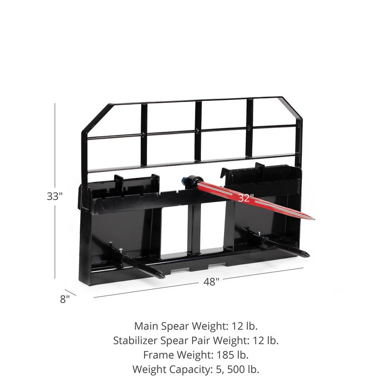 """HD Pallet Fork Attachment, 32"""" Hay Spear and Stabilizers"""