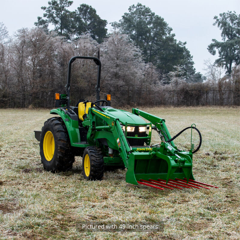 48-in Tine Bucket Attachment with 39-in Hay Bale Spears Fits John Deere Loaders