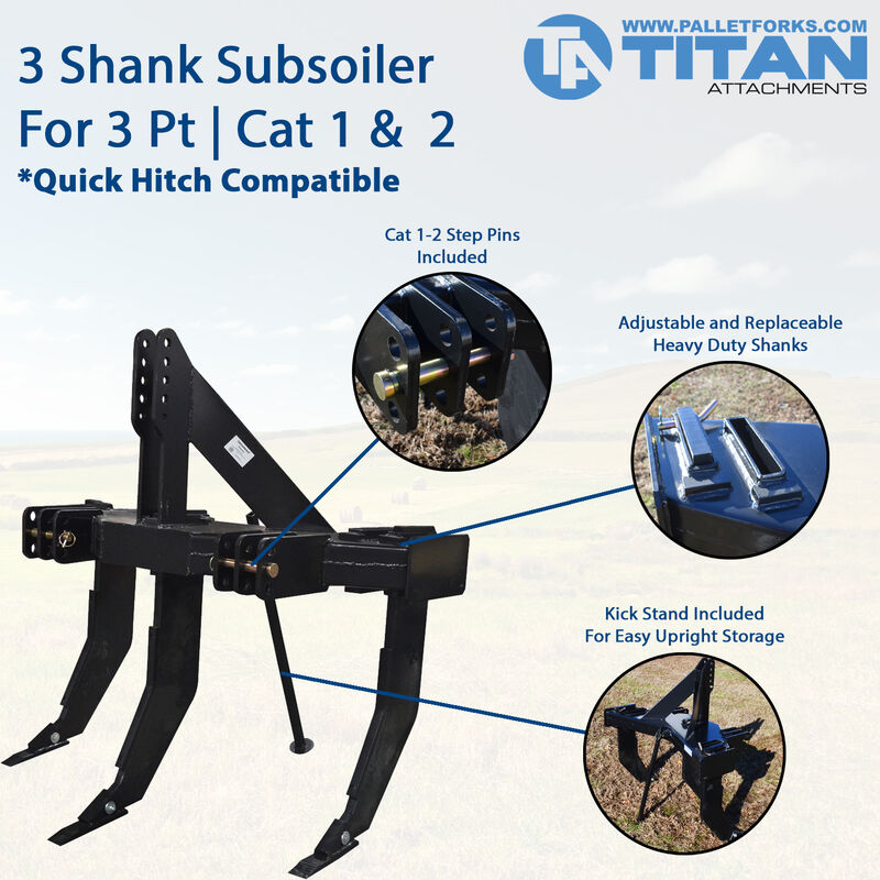 3 Shank Subsoiler For Cat 1 & 2, 3 Point | Quick Hitch Compatible
