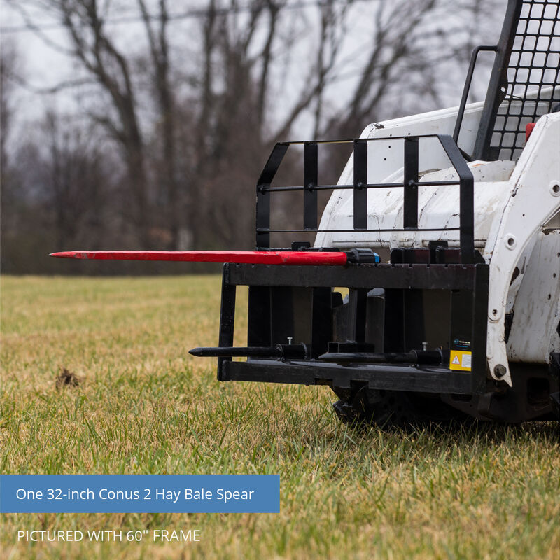 Titan 72-in XL Hay Frame Attachment with Receiver Hitch, 32-in Hay Spears, and Stabilizers