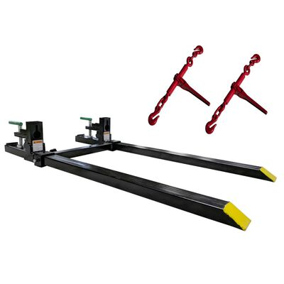 Clamp on Pallet Forks w/ Adjustable Stabilizer Bar & Ratchet Binders Loader 1500