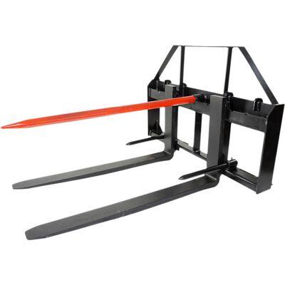 """Titan 48"""" Skid Steer Pallet Fork Attachment w/49"""" Bale Spear & 2 Stabilizers"""