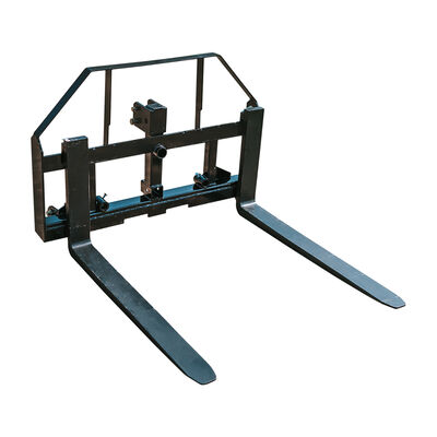 3-Point, 42-in Pallet Fork Hay Frame Attachment with Rack, Receiver Hitch, Spear Sleeves