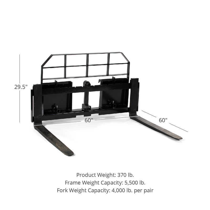 Titan 60-in XL Pallet Fork Frame Attachment with Receiver Hitch and 60-in Fork Blades