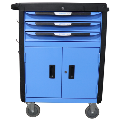 "32"" 3 Drawer Mobile Tool Chest Cabinet With Double Doors"