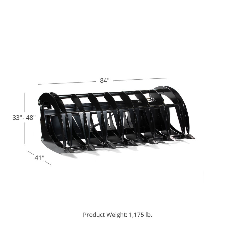 Titan 84-in HD Root Grapple Rake Attachment Fits Global Euro