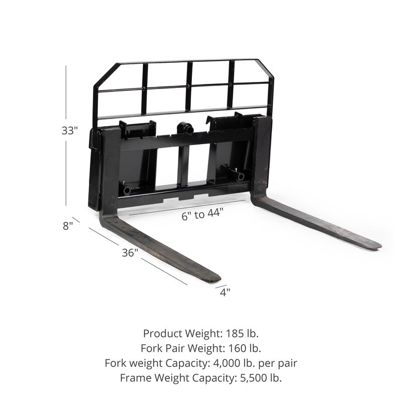 """HD Pallet Fork Attachment with 36"""" Fork Blades"""
