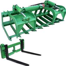 72-in Grapple Bucket And 42-in Pallet Fork Attachment fits John Deere
