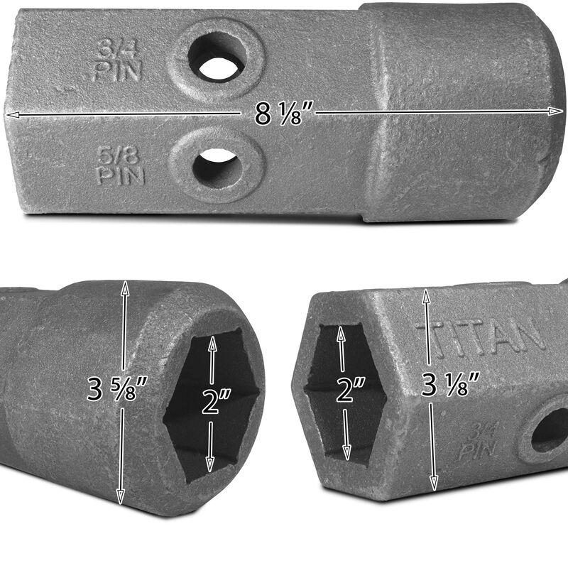 """Auger Bit Repair Hub 2"""" Hex Female 5/8 & 3/4 Pin Holes"""