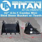 "42"" 4-In-1 Combo Mini Skid Steer Bucket w/ Teeth"