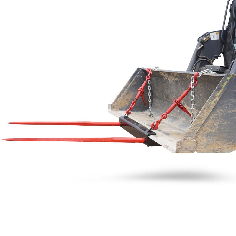 """43"""" Hay Bale Spear Universal Bucket Attachment w/ Dual Prongs"""