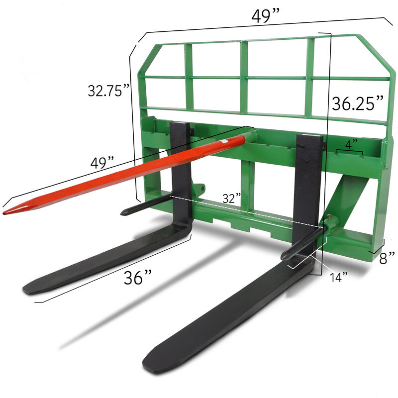 "36"" Pallet Fork Attachment HD 49"" Hay Bale Spear fits John Deere Global Loaders"