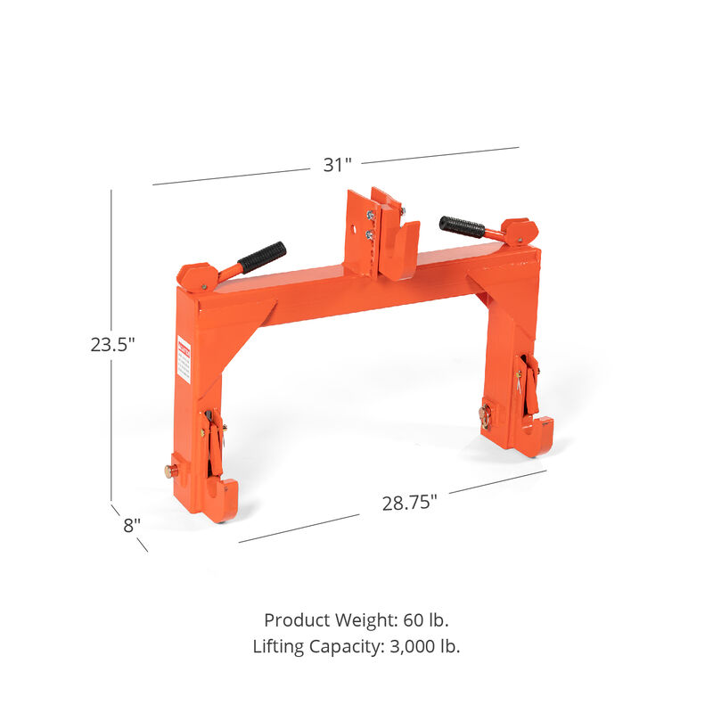 Titan Category 1 and 2, 3 Point Orange Quick Hitch